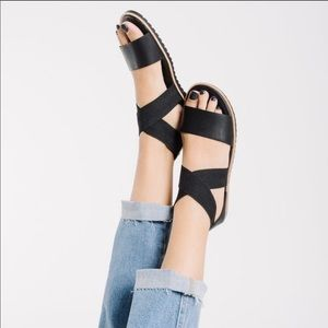 Sorel Ella Black Sandals